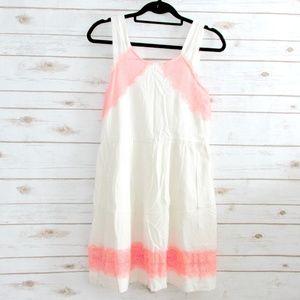 Skater Mini Dress Ivory Coral Lace
